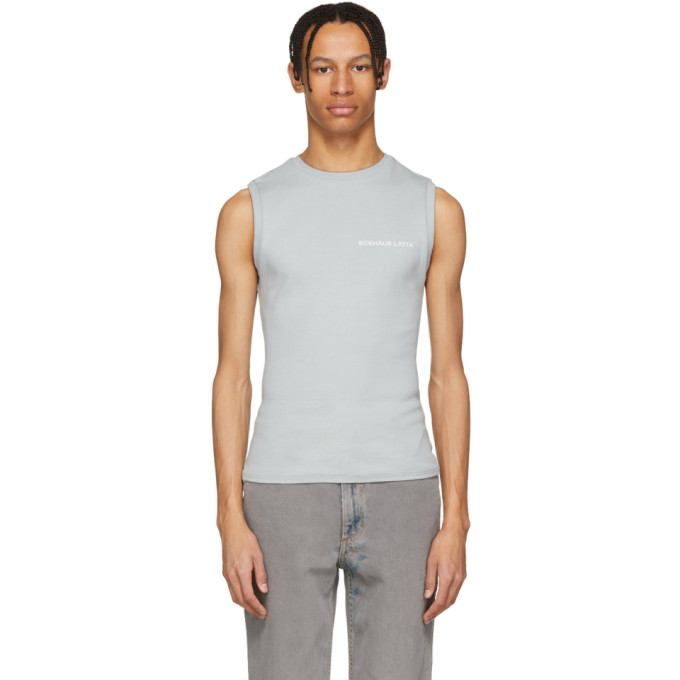 Photo: Eckhaus Latta Blue Logo Muscle Tank Top