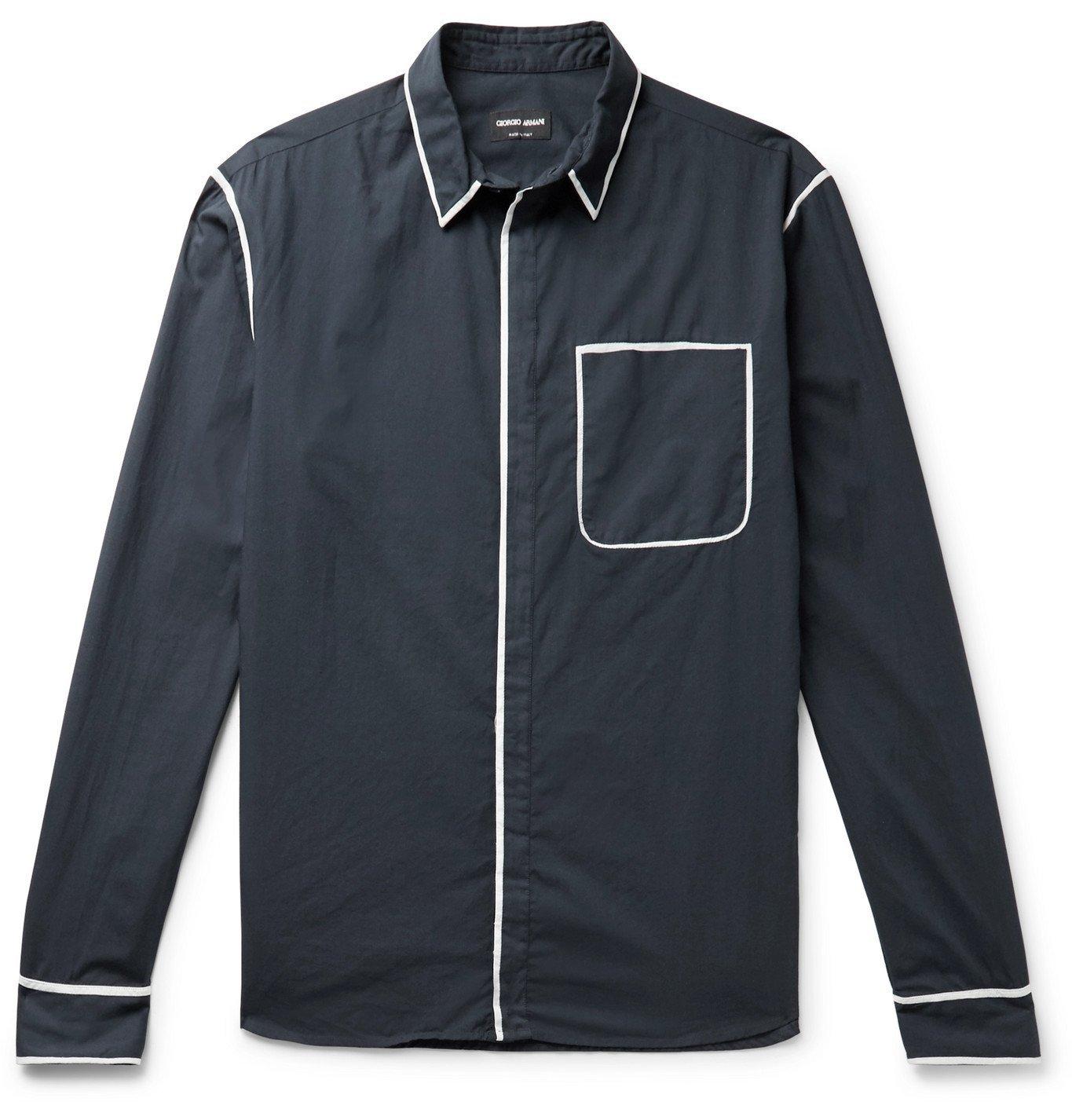 Giorgio Armani - Slim-Fit Piped Cotton-Sateen Shirt - Blue