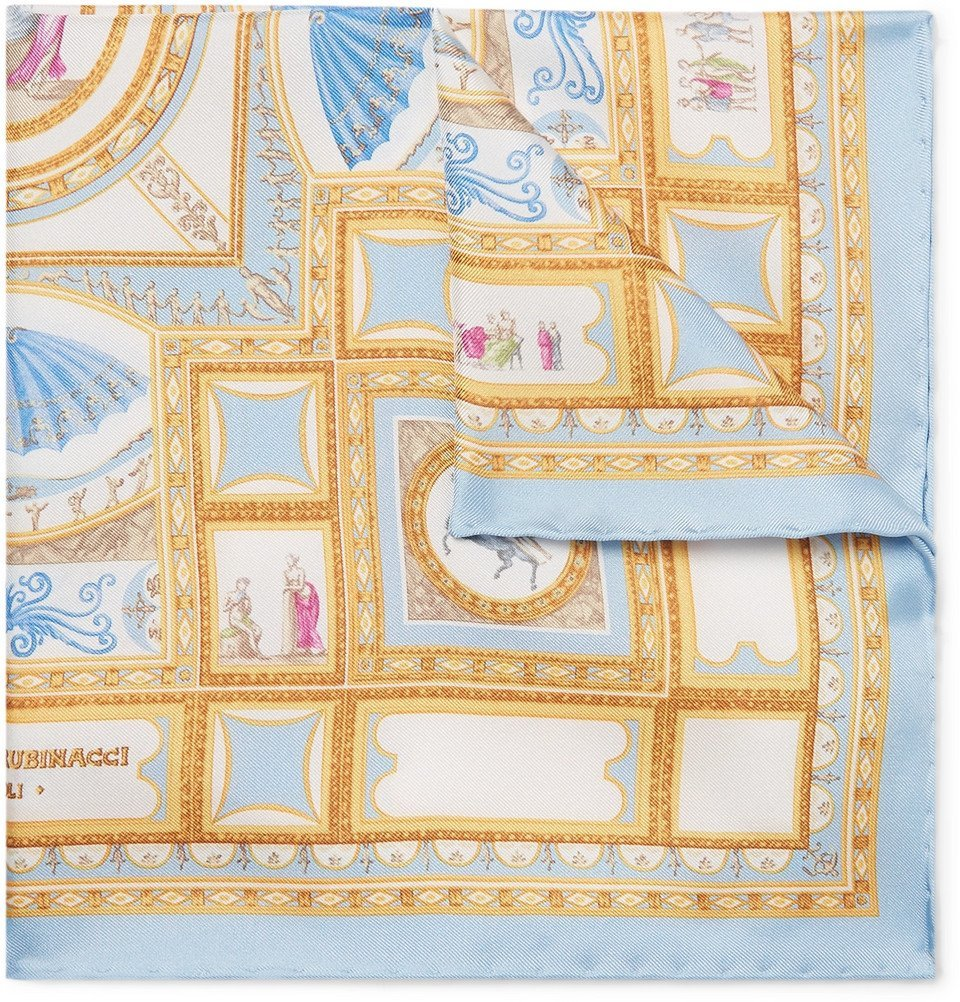 Photo: Rubinacci - Printed Silk-Twill Pocket Square - Blue