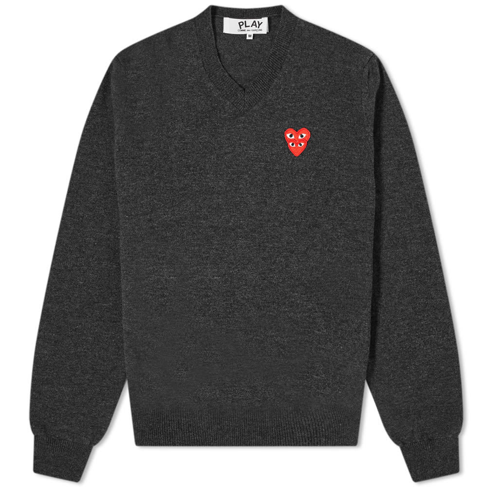 Photo: Comme des Garcons Play Overlapping Heart V-Neck Jumper