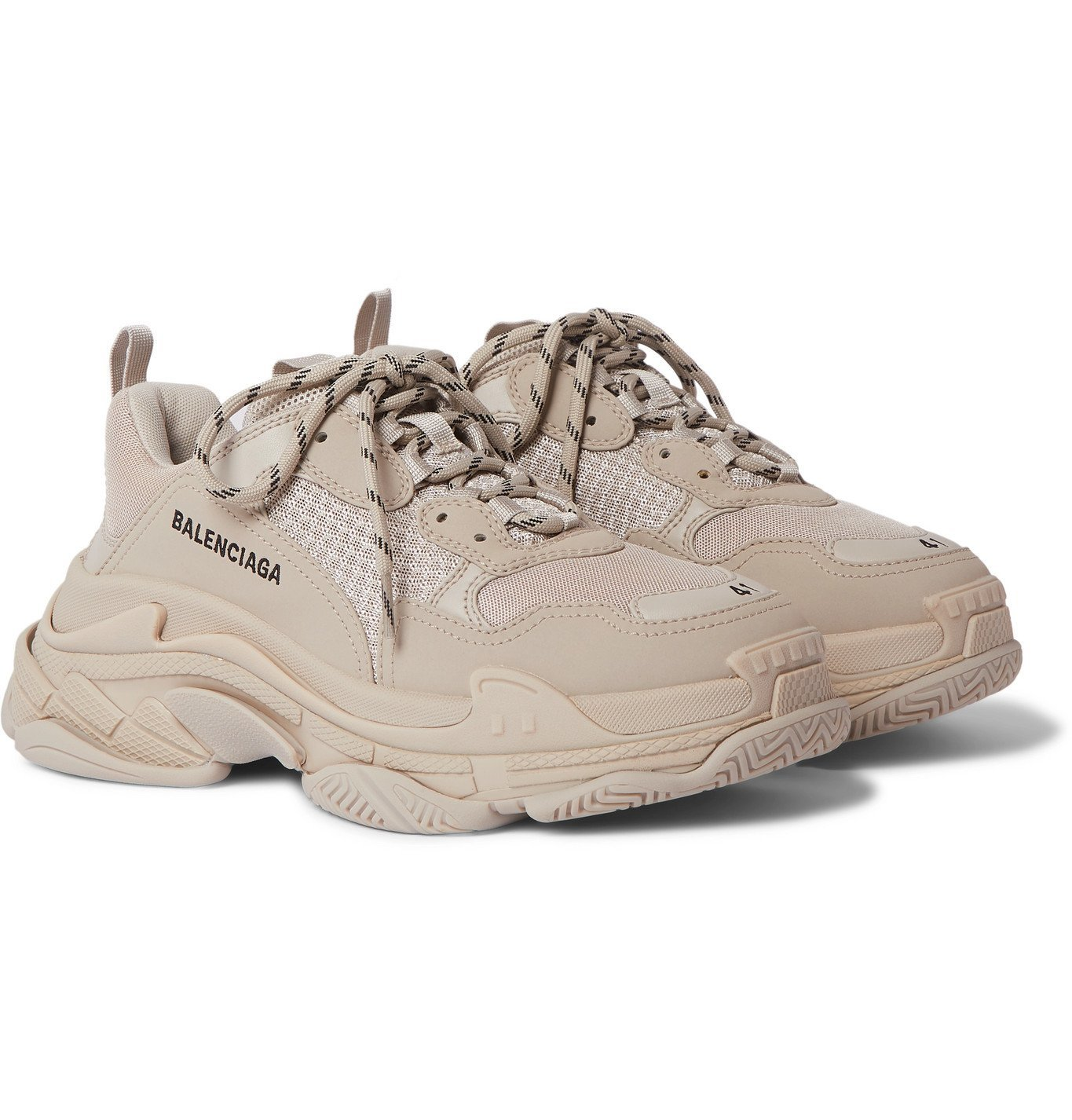 Photo: Balenciaga - Triple S Mesh and Faux Leather Sneakers - Neutrals