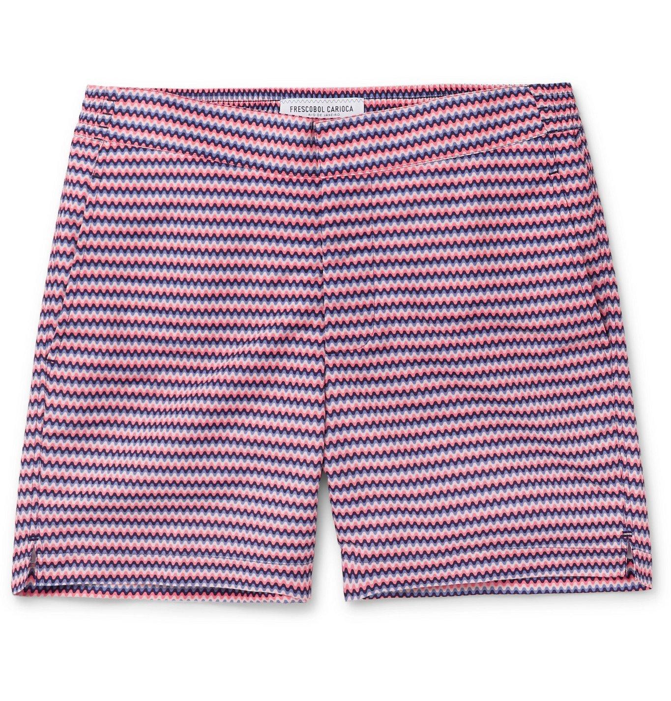 Photo: Frescobol Carioca - Copacabana Short-Length Printed Swim Shorts - Pink