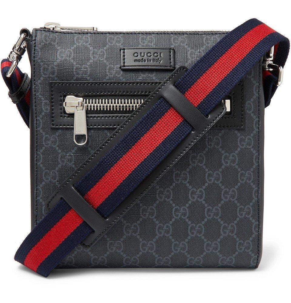 Photo: Gucci - Leather-Trimmed Monogrammed Coated-Canvas Messenger Bag - Black