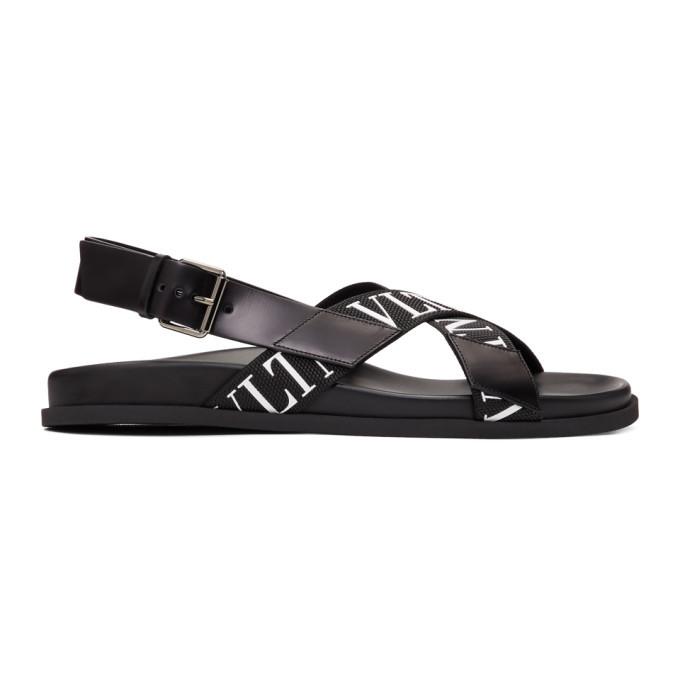 Photo: Valentino Black Valentino Garavani Strap Logo Sandals