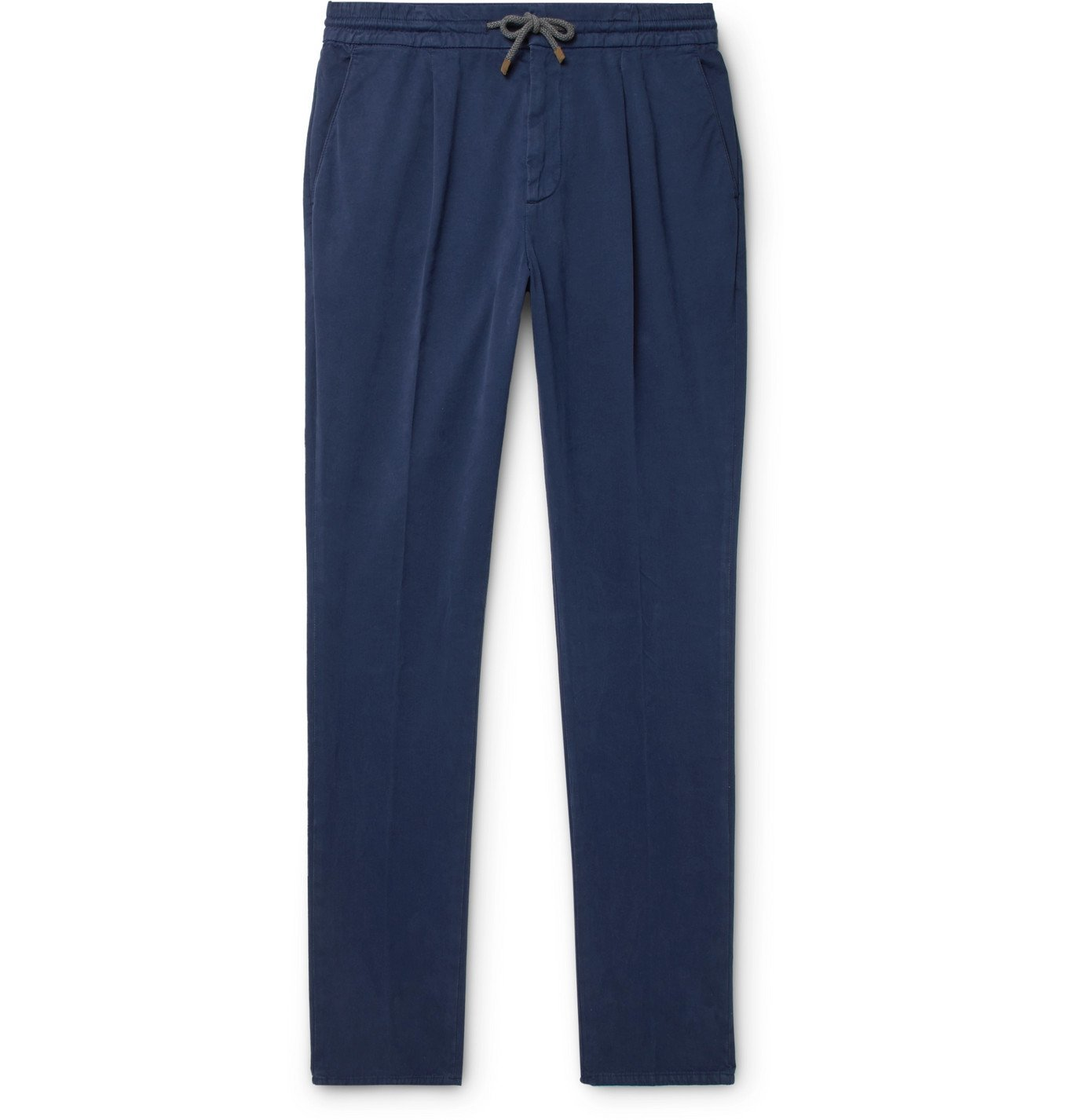 Photo: Brunello Cucinelli - Tapered Pleated Cotton-Blend Twill Drawstring Trousers - Blue