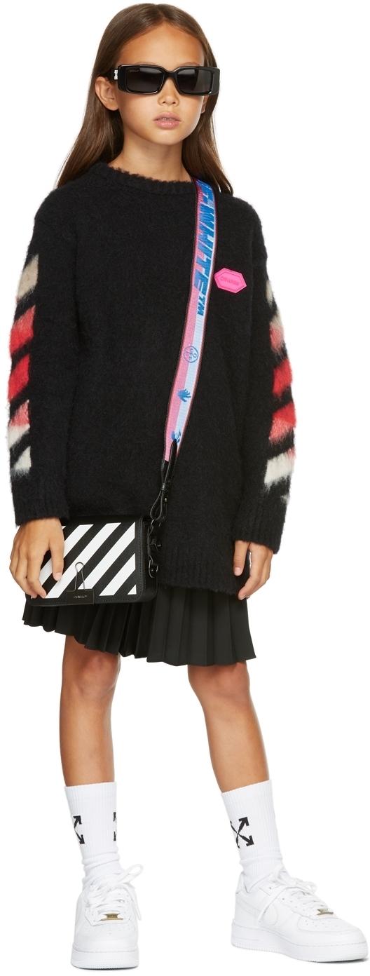 Photo: Off-White Kids Black Brushed Knit Logo Dress