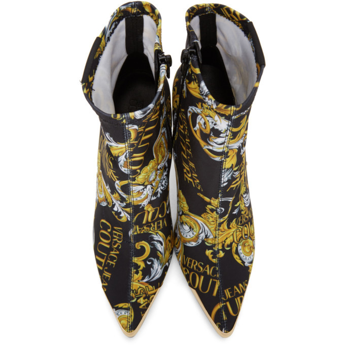 Versace Jeans Couture Black and Gold Baroque Sock Boots