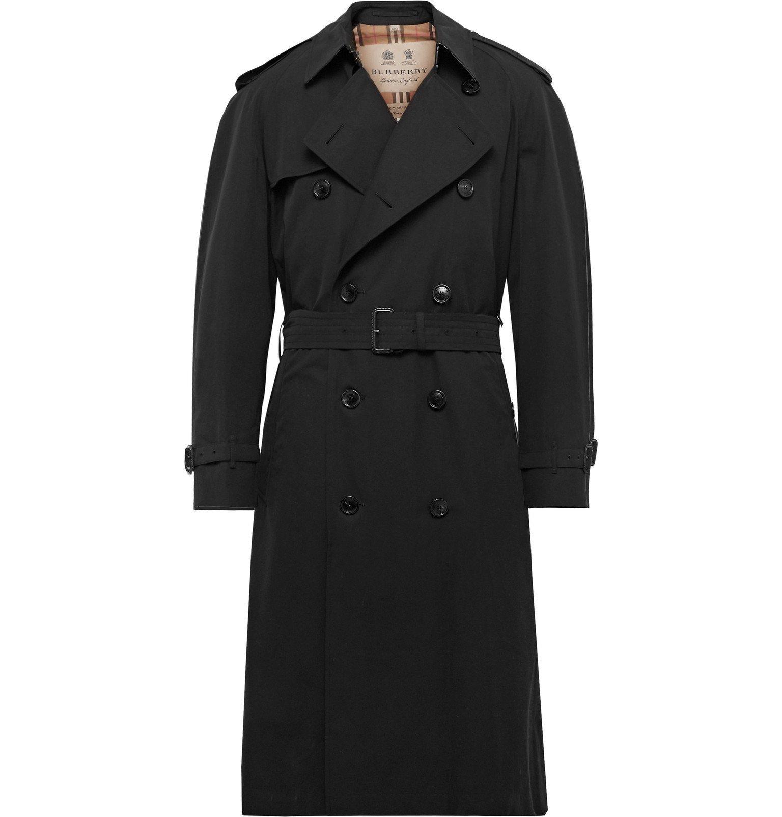 Photo: Burberry - Westminster Extra Long Cotton-Gabardine Trench Coat - Black