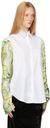 Raf Simons White & Green Contrast Sleeve Shirt