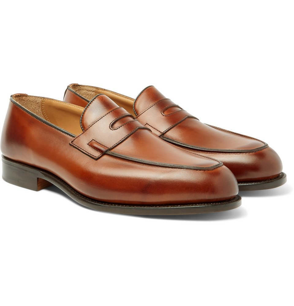 Photo: Tricker's - Blair Burnished-Leather Penny Loafers - Men - Brown