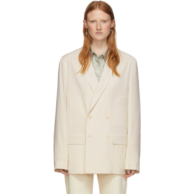 Photo: Lemaire Off-White Double-Breasted Blazer