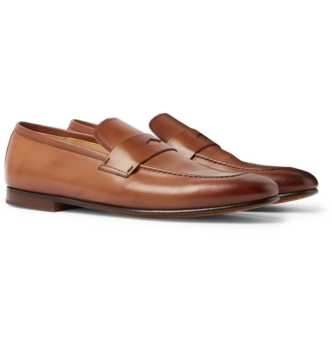 Dunhill - Chiltern Burnished-Leather Penny Loafers - Brown