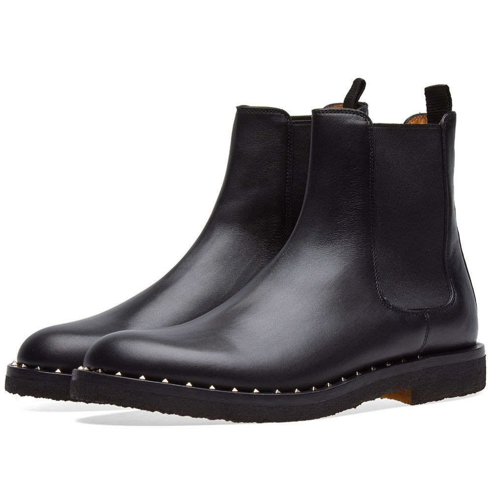 Photo: Valentino Stud Sole Chelsea Boot Black