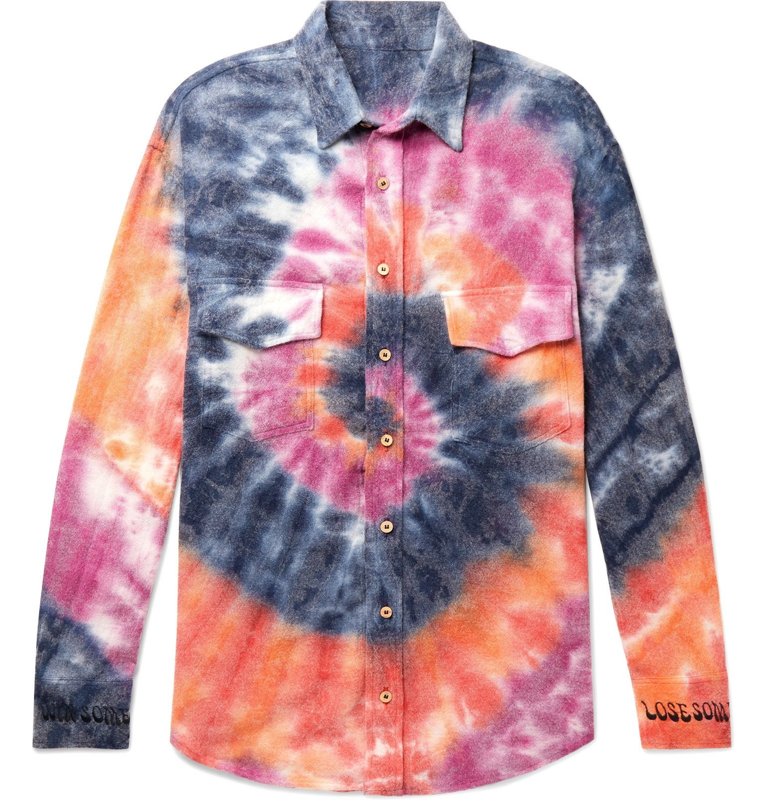 Photo: The Elder Statesman - Oversized Tie-Dyed Wool, Cashmere and Cotton-Blend Flannel Shirt - Multi