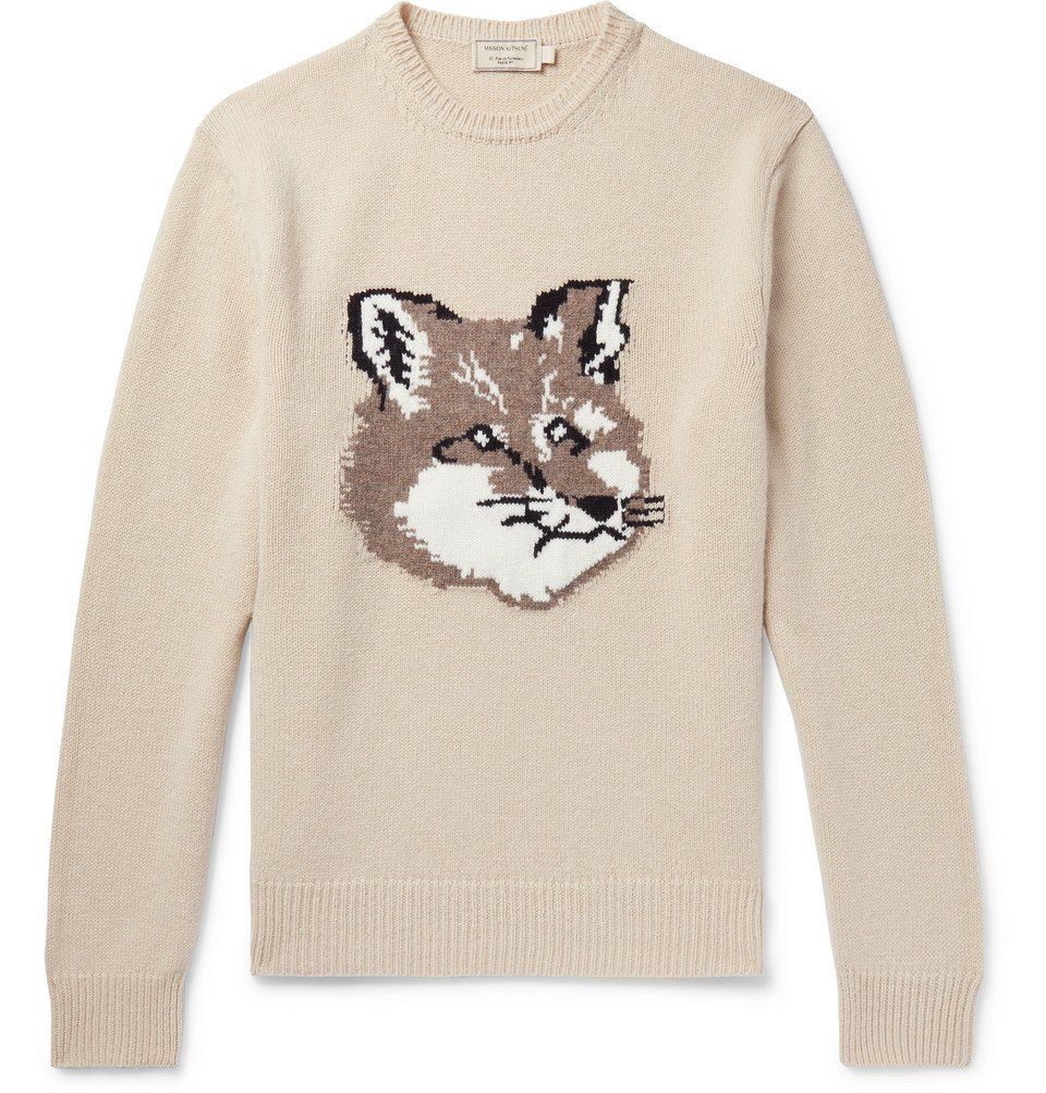 Photo: Maison Kitsuné - Logo-Intarsia Wool Sweater - Neutral