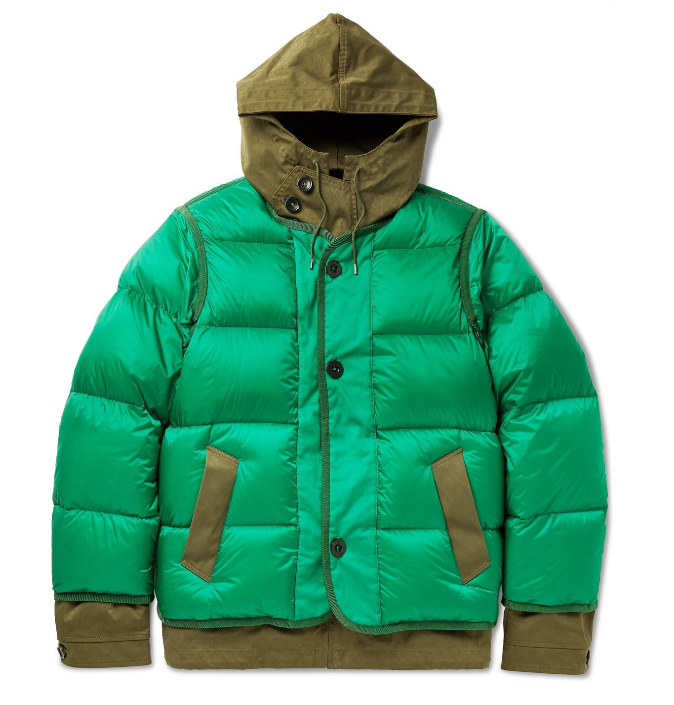 Photo: Sacai - Quilted Shell and Coated Cotton-Twill Hooded Down Jacket - Green