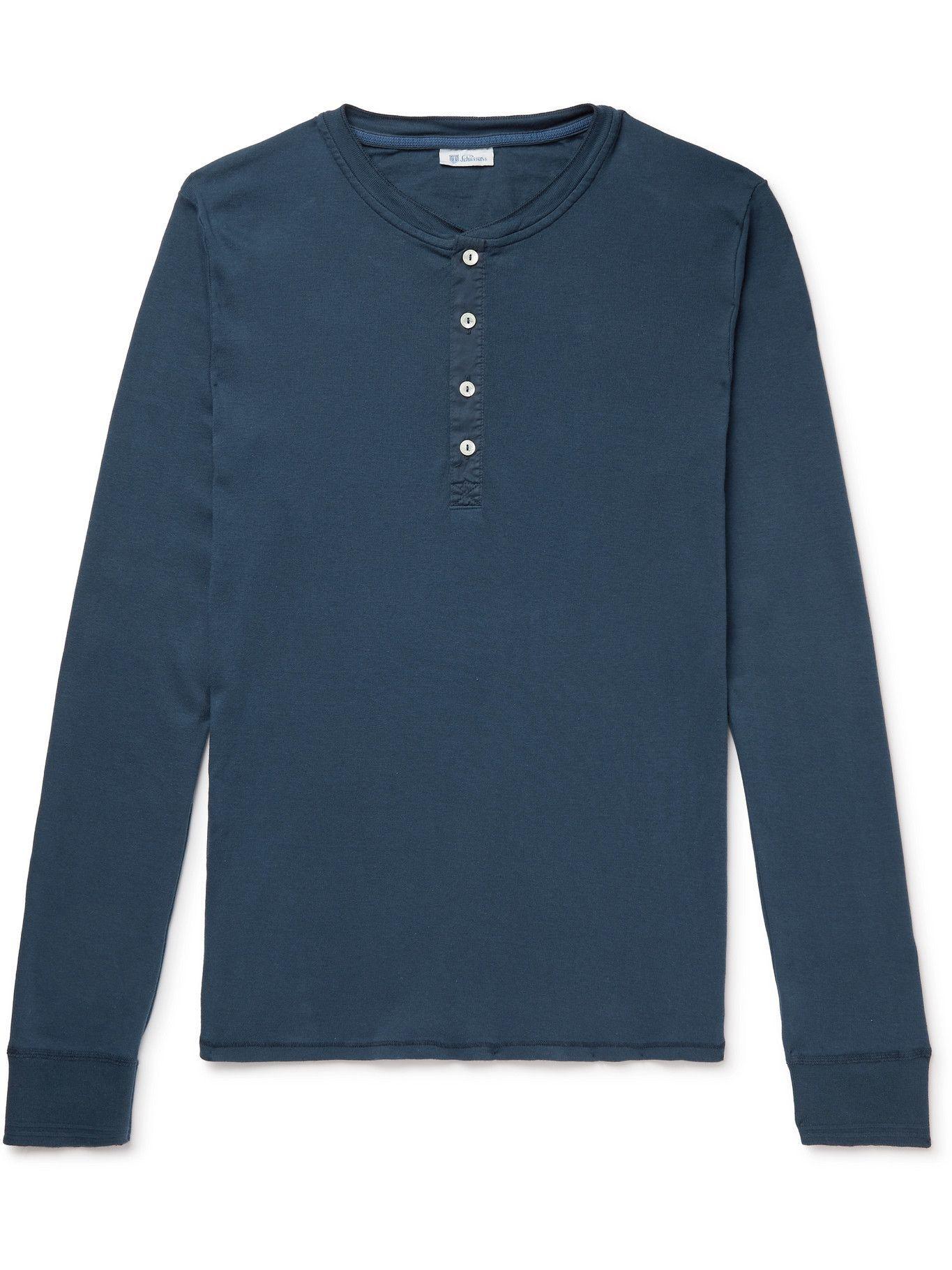 Photo: Schiesser - Karl Heinz Cotton-Jersey Henley Pyjama T-Shirt - Blue