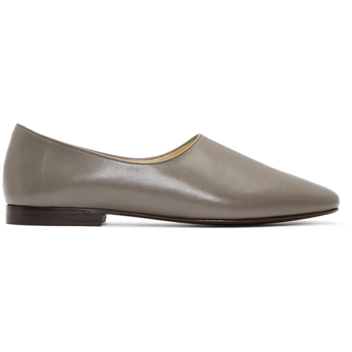 Lemaire Grey Leather Slipper Loafers