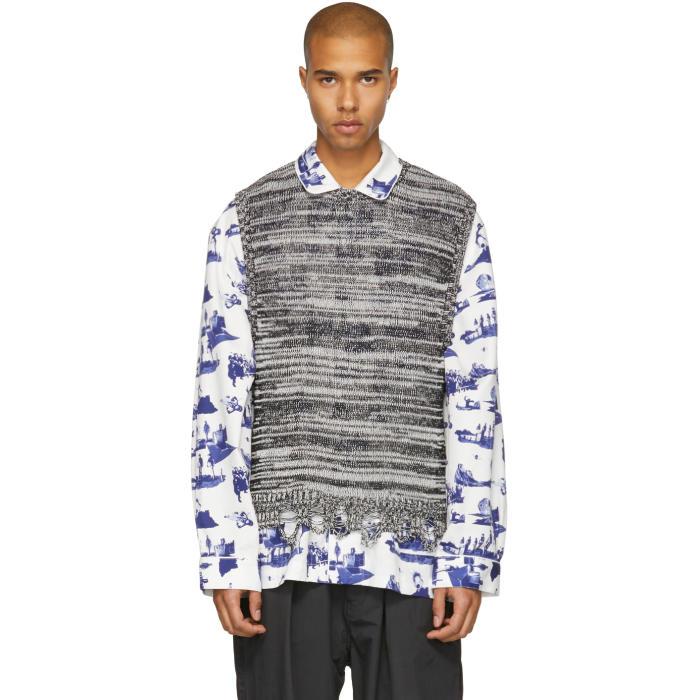 Photo: Name. Black and White Melange Knit Vest