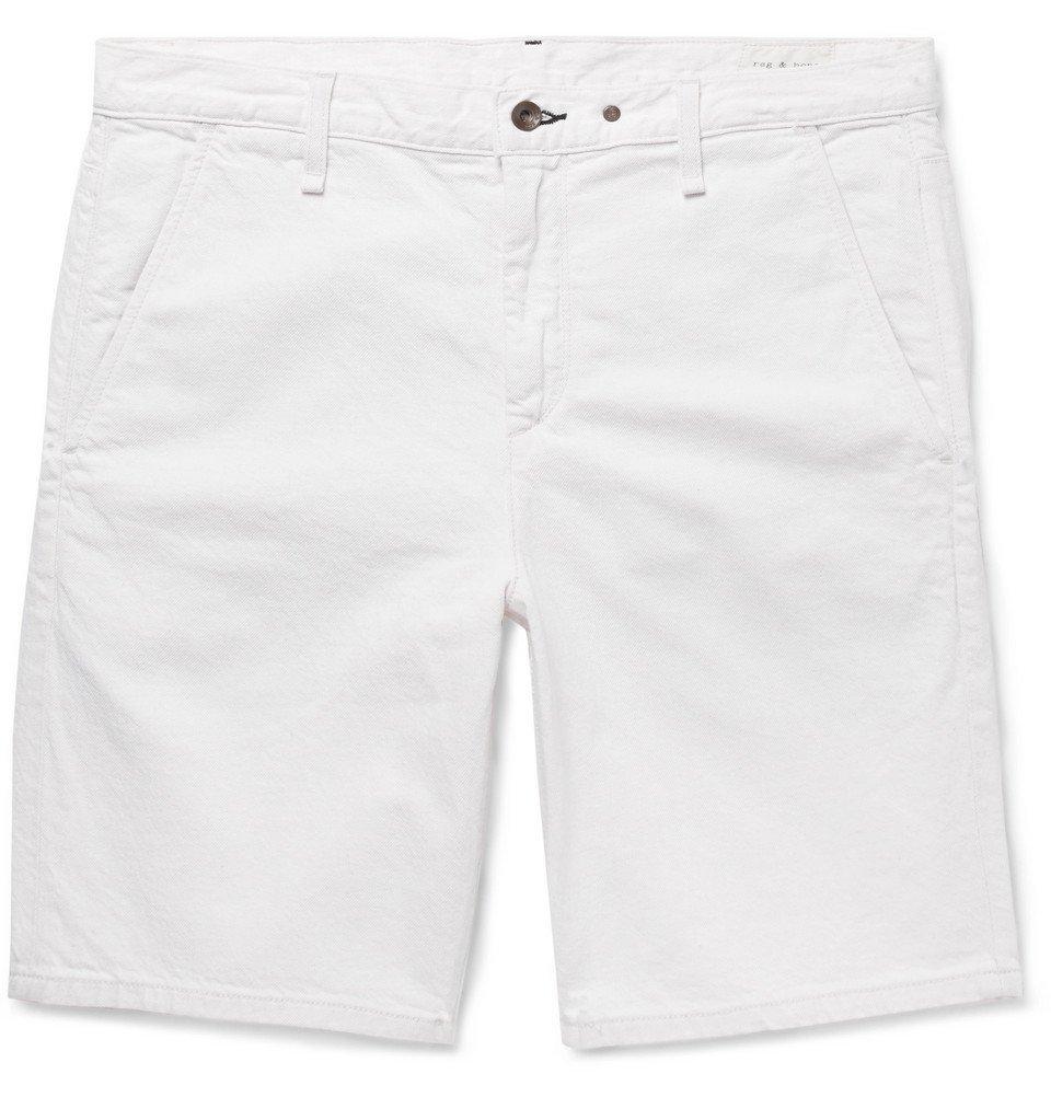 Photo: rag & bone - Slim-Fit Cotton and Linen-Blend Chino Shorts - Off-white