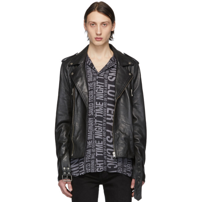 Photo: Ksubi Black Leather Loathing Biker Jacket