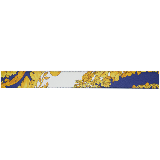 Versace Blue and Gold Barroco Belt