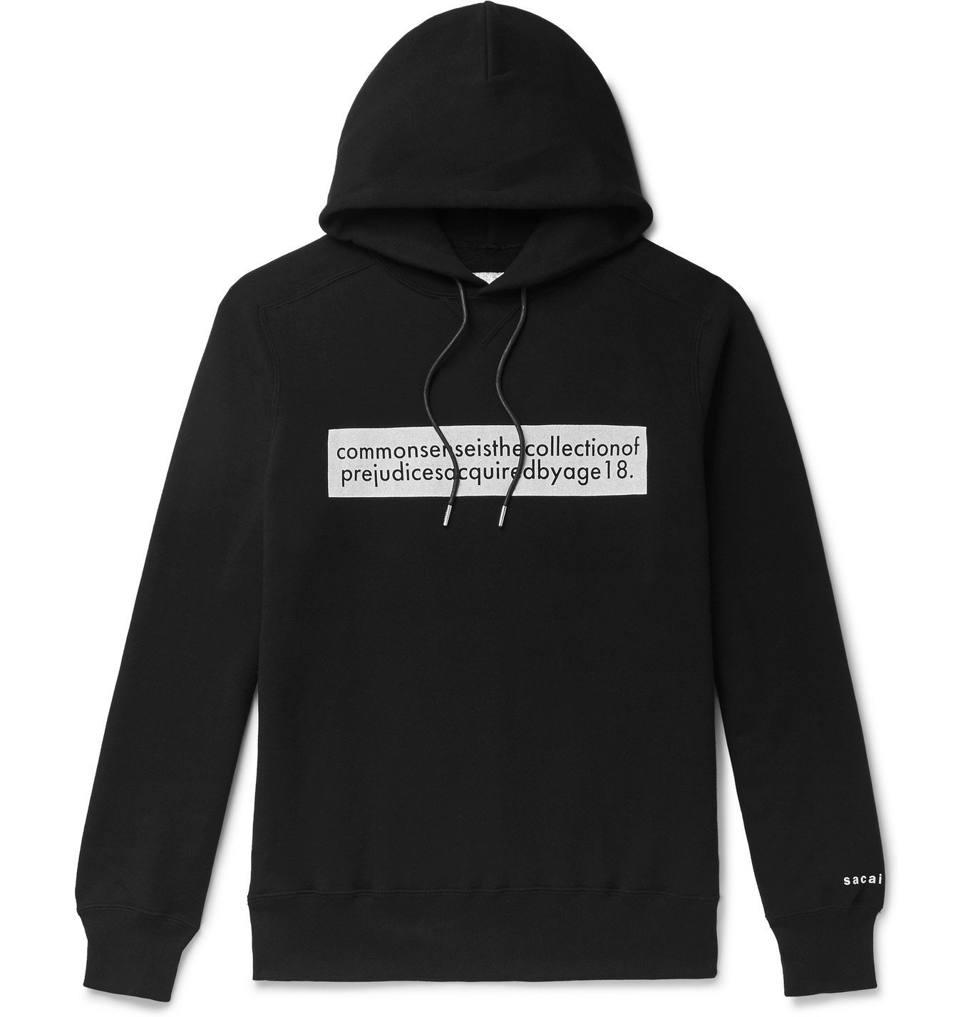 Sacai - Printed Loopback Cotton-Jersey Hoodie - Black