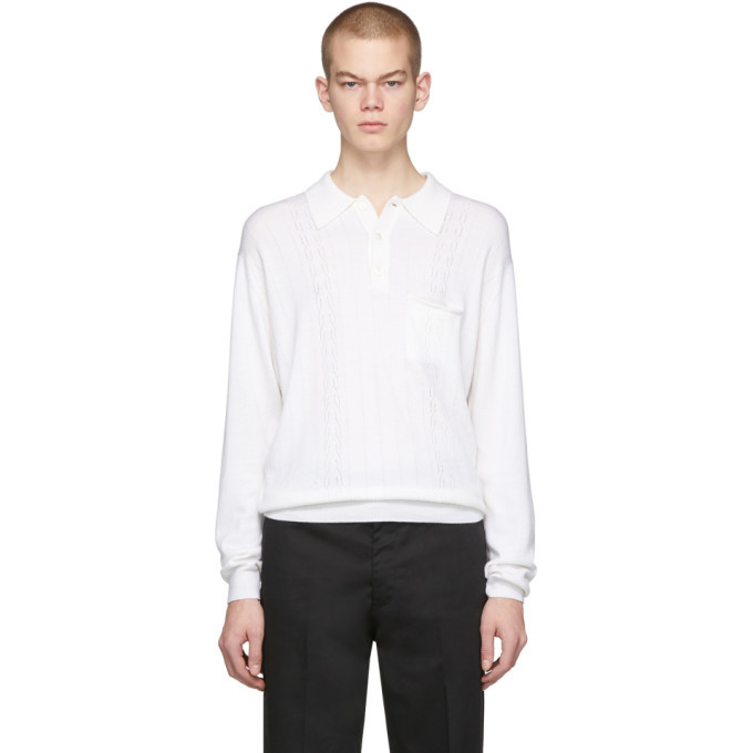 Photo: Second/Layer White Knit Long Sleeve Polo