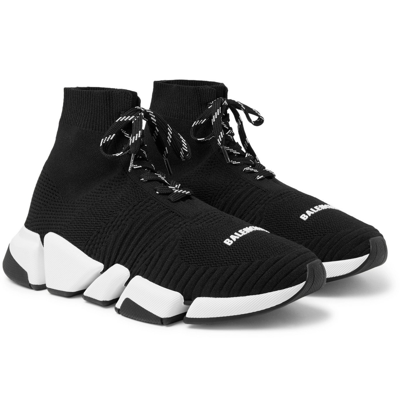 Photo: Balenciaga - Speed 2.0 Stretch-Knit Sneakers - Black