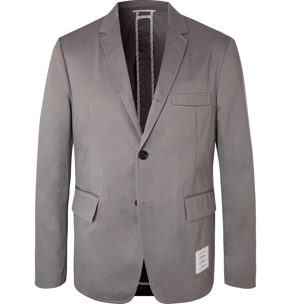 Photo: Thom Browne - Grey Cotton-Twill Suit Jacket - Gray