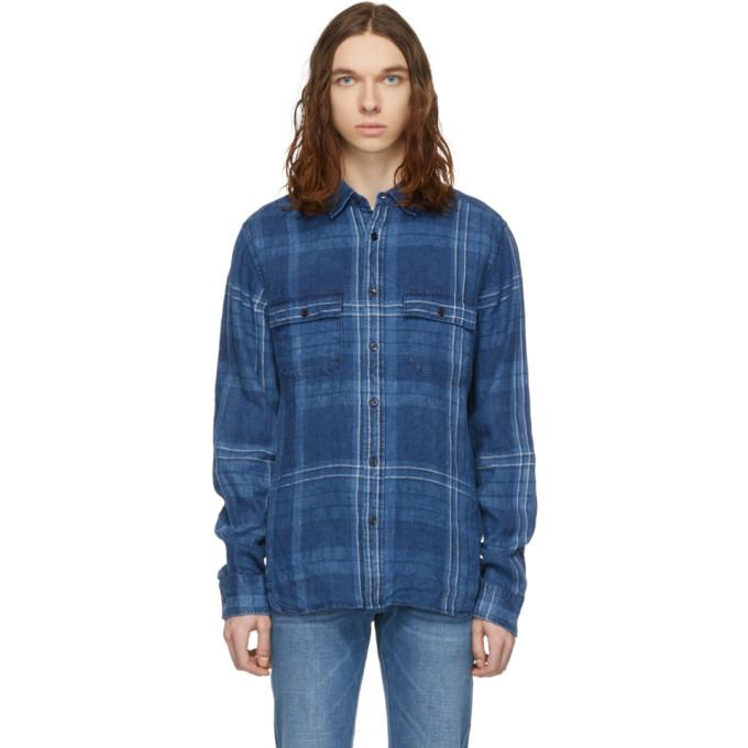 Photo: Frame Indigo Linen Double Pocket Shirt