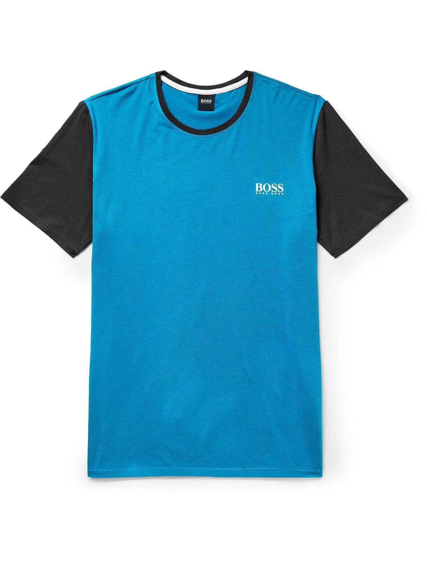 Photo: HUGO BOSS - Stretch Cotton and Modal-Blend Jersey Pyjama T-Shirt - Blue - S