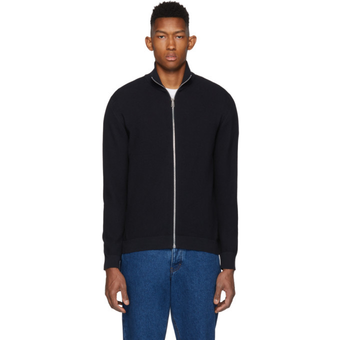 Photo: PS by Paul Smith Navy Knit Zip-Up Sweater