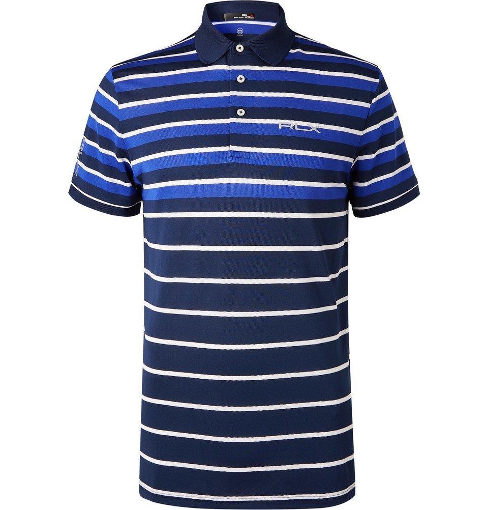 Rlx Ralph Lauren Striped Tech Piqu Golf Polo Shirt Men Navy