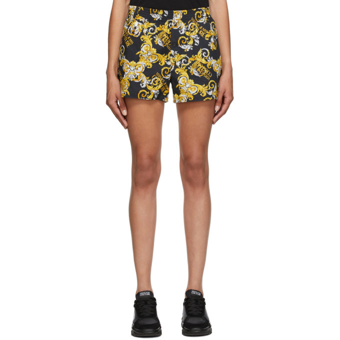 Versace Jeans Couture Black and Gold Logo Baroque Shorts