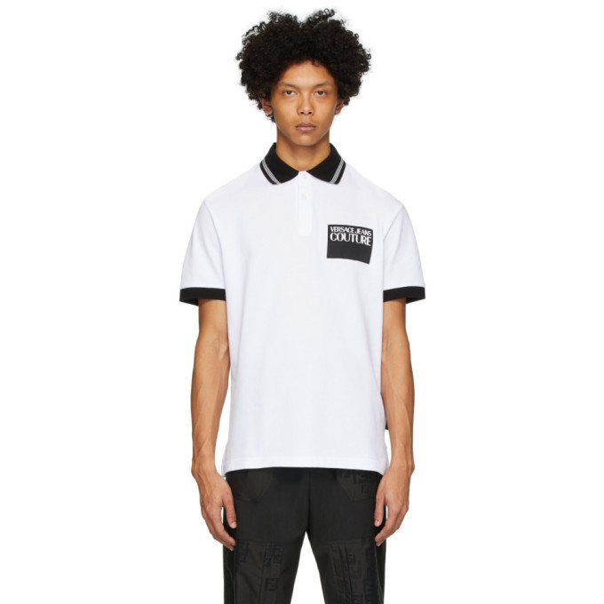 Versace Jeans Couture White Institutional Logo Patch Polo