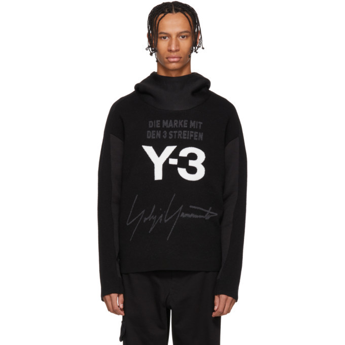 Photo: Y-3 Black and White Stacked Logo Hoodie