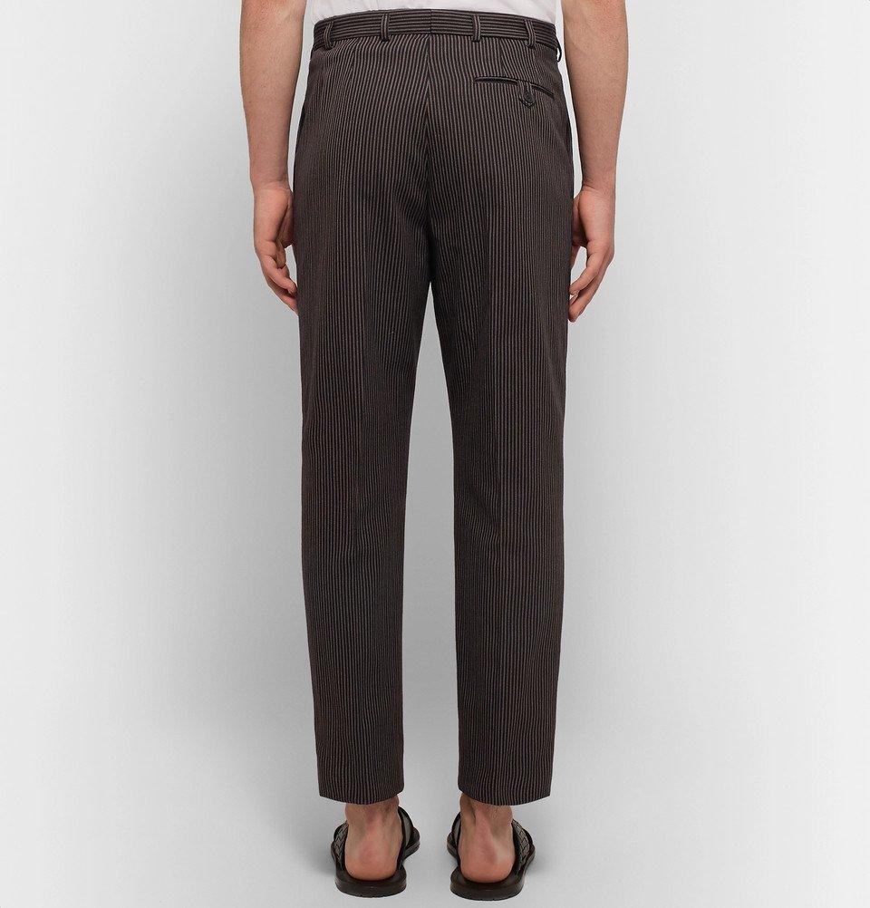 Bottega Veneta - Slim-Fit Pleated Striped Cotton and Wool-Blend Trousers - Men - Navy
