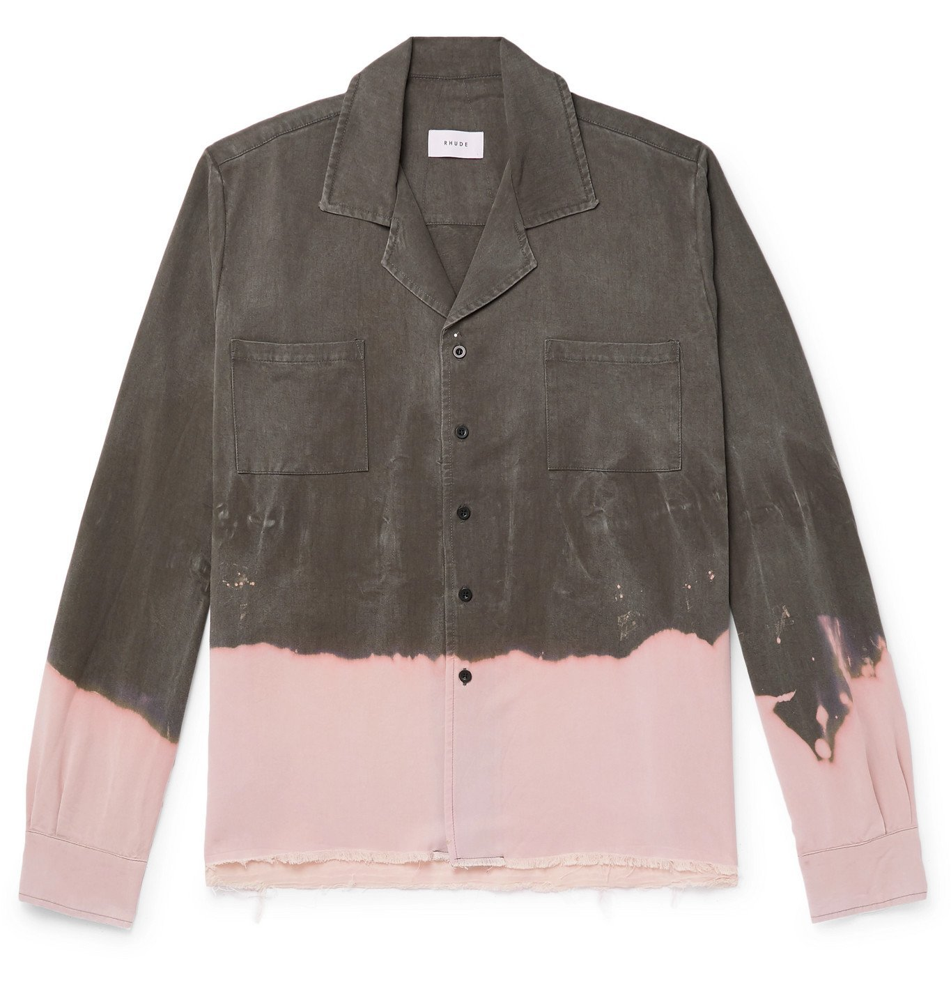 Photo: Rhude - Camp-Collar Dip-Dyed Voile Shirt - Gray