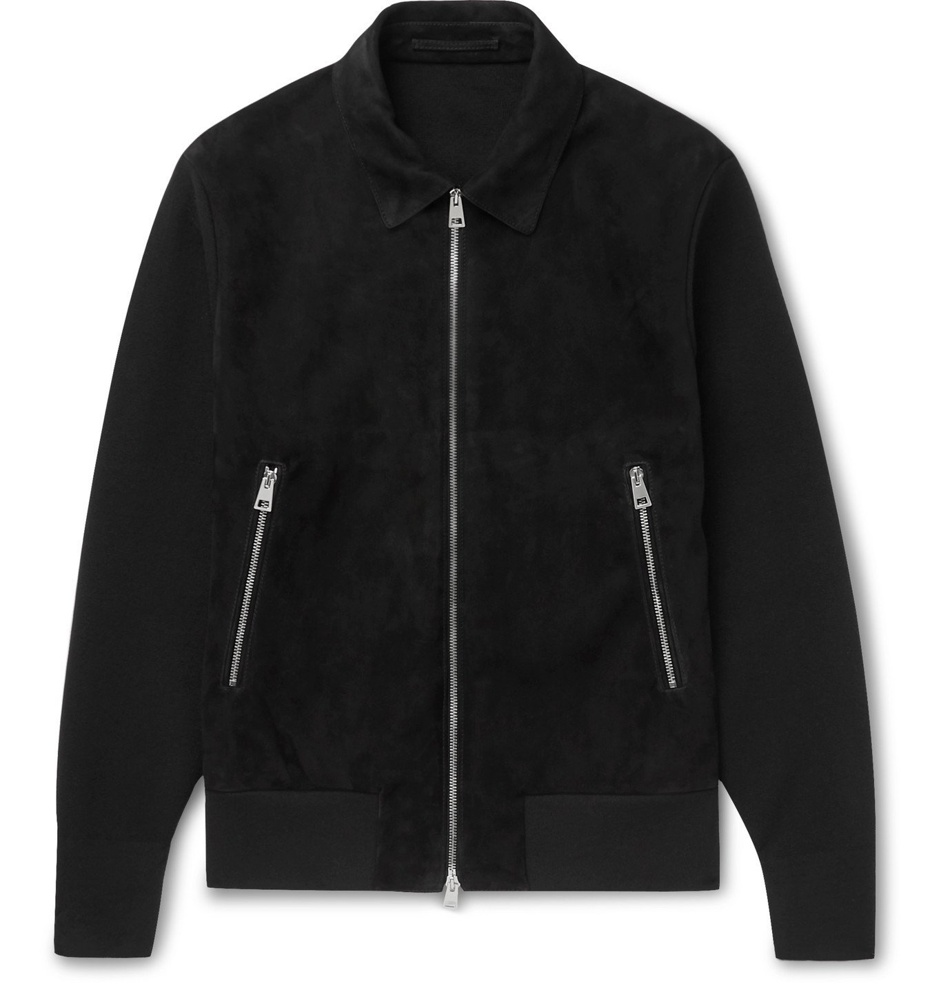 Photo: Mr P. - Panelled Suede and Knitted Blouson Jacket - Black