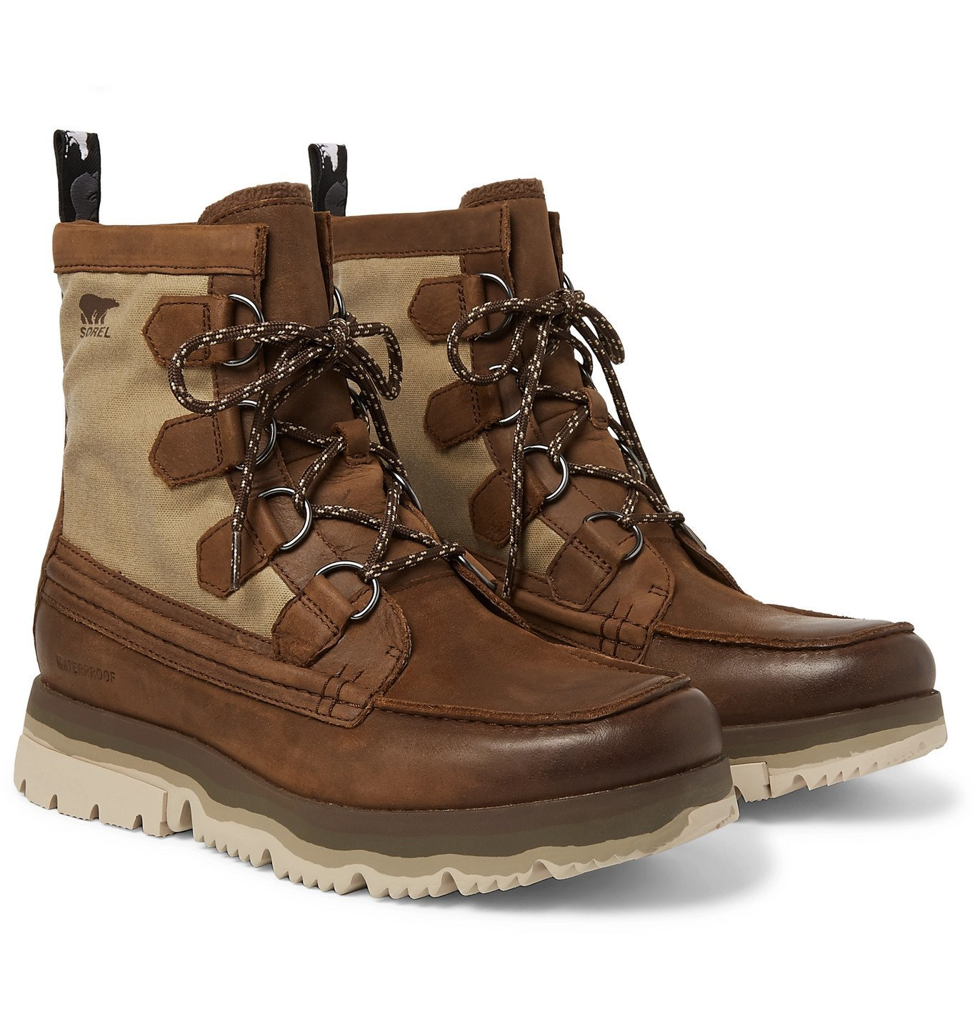 Photo: Sorel - Atlis Caribou Waterproof Leather and Canvas Boots - Brown