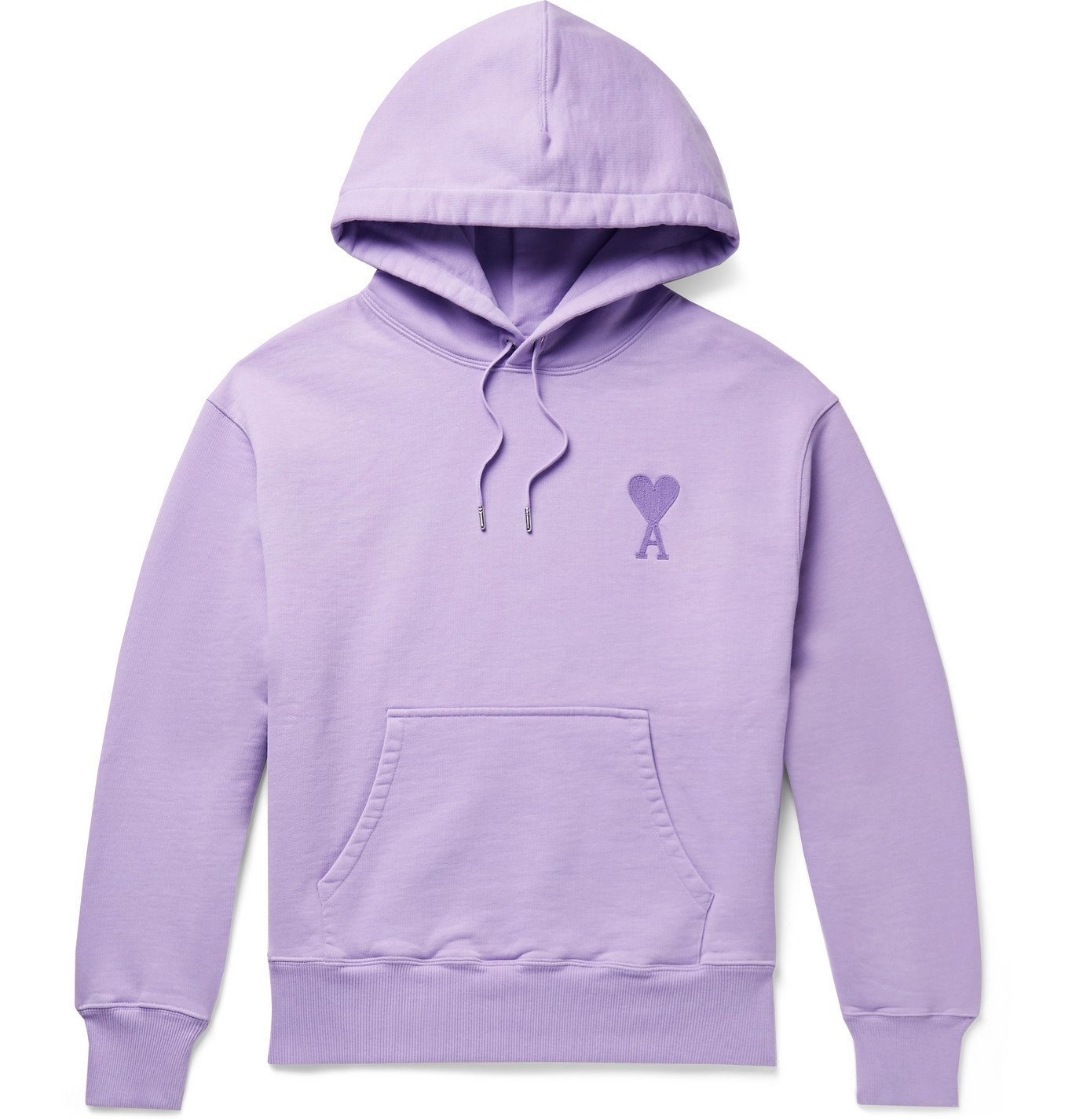Photo: AMI PARIS - Logo-Embroidered Loopback Cotton-Jersey Hoodie - Purple