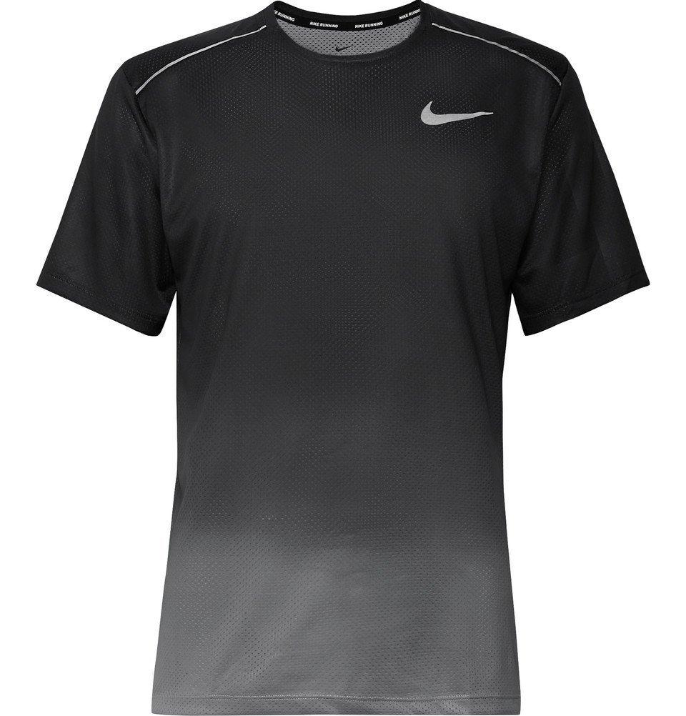 Nike Running - Miler Printed Dri-FIT Mesh T-Shirt - Gray