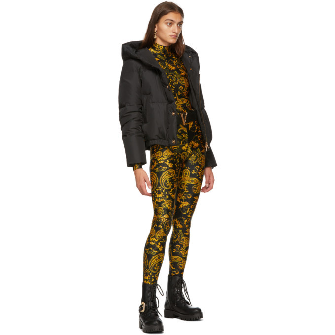 Versace Black Down Hooded Puffer Jacket