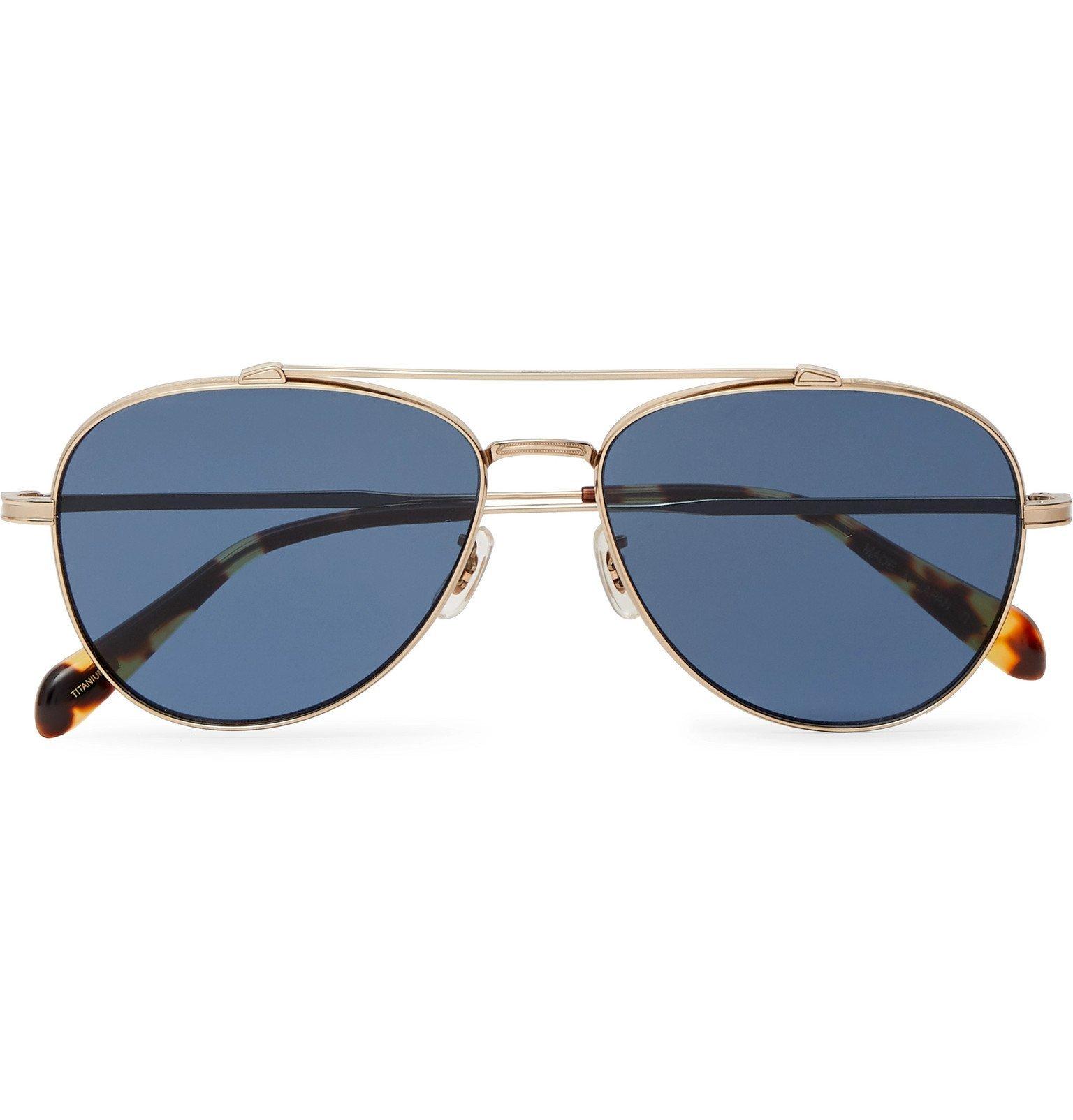 Oliver Peoples - Rikson Aviator-Style Silver-Tone Titanium and Tortoiseshell Acetate Sunglasses - Gold