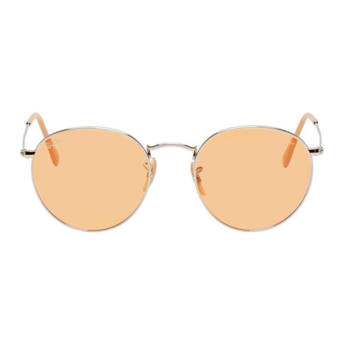 Photo: Ray-Ban Silver and Orange Round Phantos Sunglasses