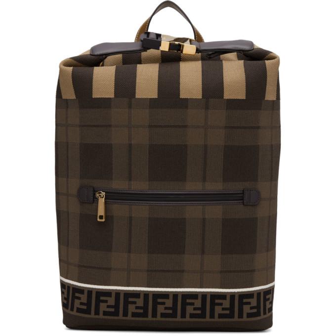 Photo: Fendi Brown Tech Knit Tartan Forever Fendi Backpack