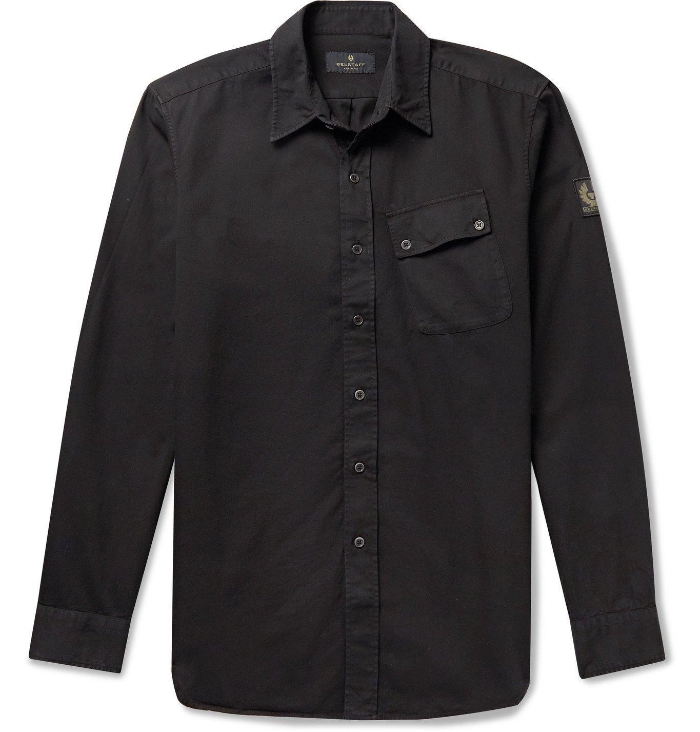 Photo: BELSTAFF - Pitch Logo-Appliquéd Garment-Dyed Cotton Oxford Shirt - Black
