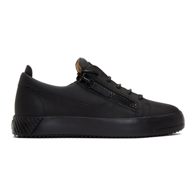 Photo: Giuseppe Zanotti Black Rubberized Leather Frankie Sneakers