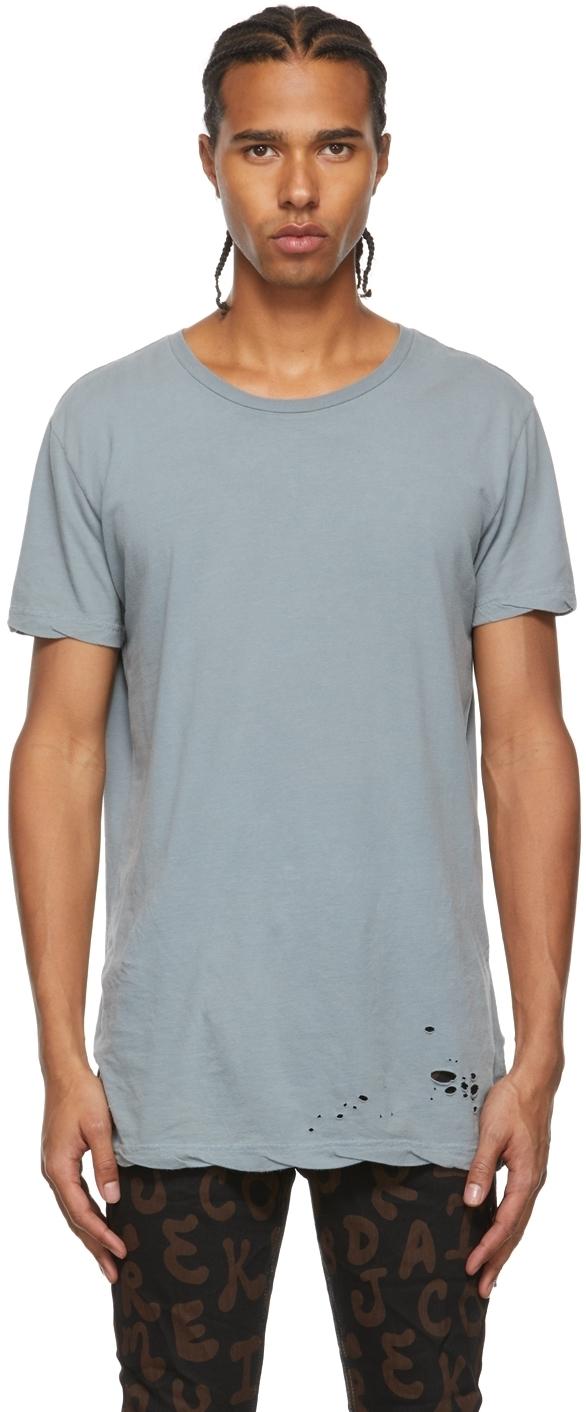 Photo: Ksubi Blue Distressed T-Shirt